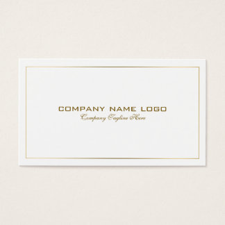 Simple Modern Tin Gold Border On White Business Card