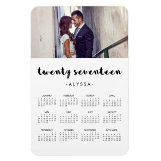 Simple Modern Typography 2017 Photo Calendar Rectangular Photo Magnet