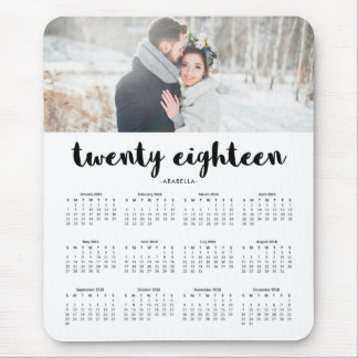 Simple Modern Typography 2018 Photo Calendar Mouse Pad