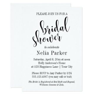 Simple Modern Typography Bridal Shower 1 Card