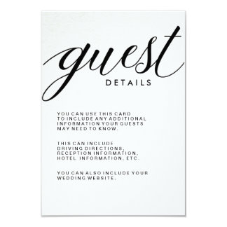 Simple Modern Typography Guest Information Card