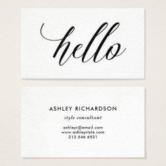 Simple Modern Typography | Hello Business Card