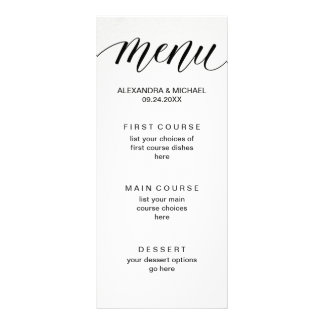 Simple Modern Typography on Watercolor Paper Menu