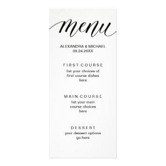 Simple Modern Typography on Watercolor Paper Menu Customised Rack Card