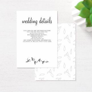simple modern Wedding details cards