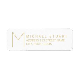Simple Modern White and Gold Monogram Return Address Label