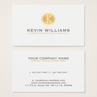 Simple Modern White & Gold Circle Accent Business Card