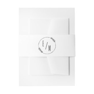 Simple Modern Wreath Wedding Invitation Collection Invitation Belly Band