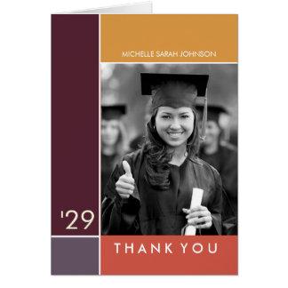 Simple Mondrian Graduation Photo Thank You Card