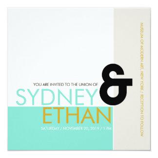 "Simple Mondrian Minimalist Modern Wedding Invite 5.25"" Square Invitation Card"