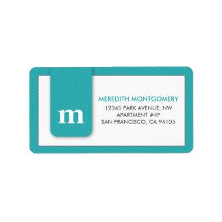 Simple Monogram Aqua Designer Address Label