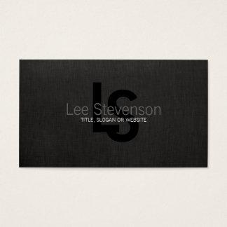 Simple Monogram Black Linen Look Professional