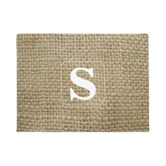 Simple Monogram Burlap Doormat