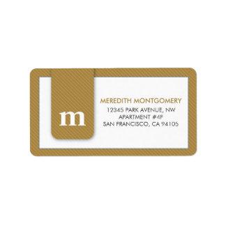 Simple Monogram Gold Designer Address Label