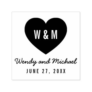 Simple Monogram Heart Couple Save the Date Wedding Self-inking Stamp