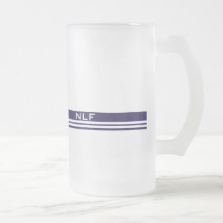 Simple Monogram in Blue and White Frosted Glass Beer Mug