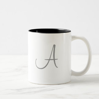 Simple Monogram Letter Initial Custom Personalized Two-Tone Mug