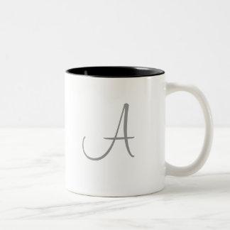 Simple Monogram Letter Initial Custom Personalized Two-Tone Mug