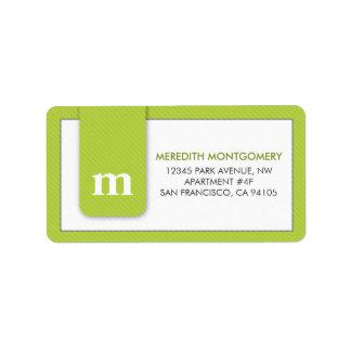 Simple Monogram Lime Green Designer Address Label