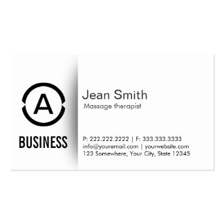 Simple Monogram Massage Therapist Business Card