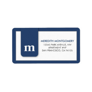 Simple Monogram Navy Blue Designer Address Label