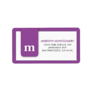 Simple Monogram Purple Designer Address Label