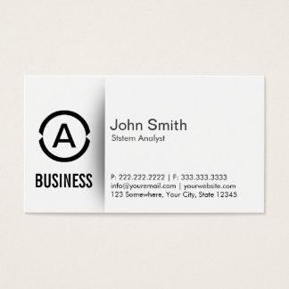 Simple Monogram System Analyst Business Card