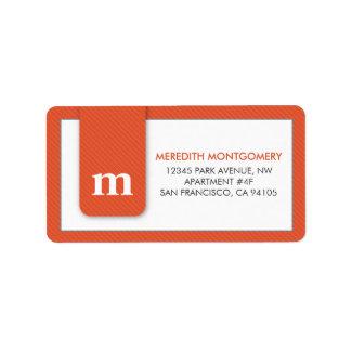 Simple Monogram Tangerine Designer Address Label