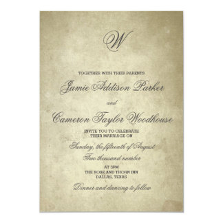 Simple Monogram | Vintage Paper Wedding Card