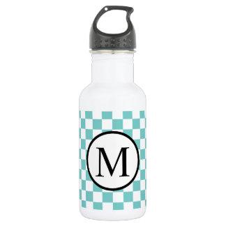 Simple Monogram with Aqua Checkerboard 532 Ml Water Bottle
