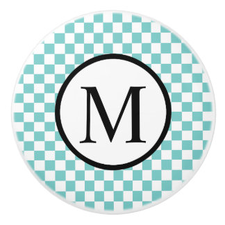 Simple Monogram with Aqua Checkerboard Ceramic Knob