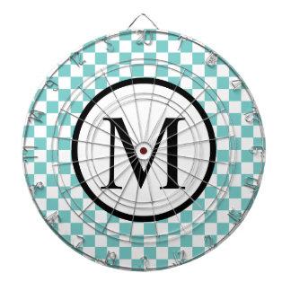 Simple Monogram with Aqua Checkerboard Dartboard