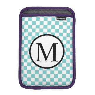 Simple Monogram with Aqua Checkerboard iPad Mini Sleeve