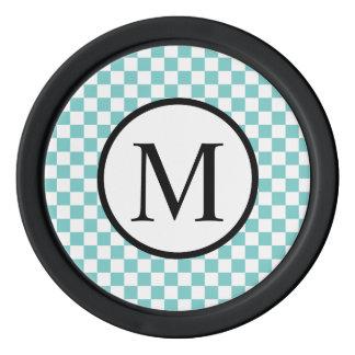 Simple Monogram with Aqua Checkerboard Poker Chips Set