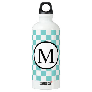Simple Monogram with Aqua Checkerboard SIGG Traveller 0.6L Water Bottle