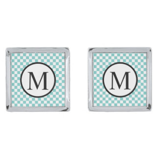 Simple Monogram with Aqua Checkerboard Silver Finish Cuff Links