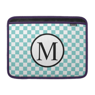 Simple Monogram with Aqua Checkerboard Sleeve For MacBook Air