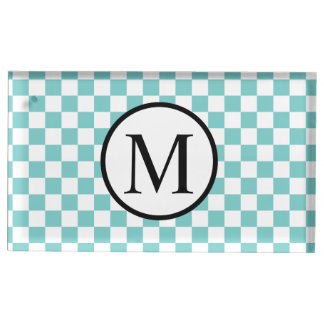 Simple Monogram with Aqua Checkerboard Table Number Holder