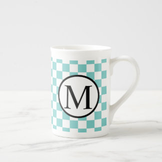 Simple Monogram with Aqua Checkerboard Tea Cup