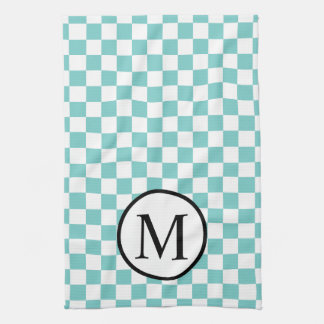 Simple Monogram with Aqua Checkerboard Tea Towel