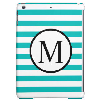 Simple Monogram with Aqua Horizontal Stripes