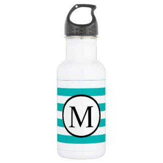 Simple Monogram with Aqua Horizontal Stripes 532 Ml Water Bottle