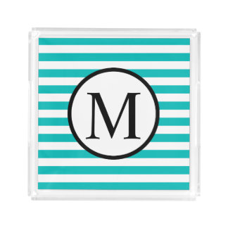 Simple Monogram with Aqua Horizontal Stripes Acrylic Tray