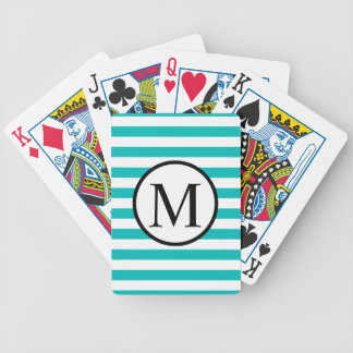 Simple Monogram with Aqua Horizontal Stripes Bicycle Playing Cards