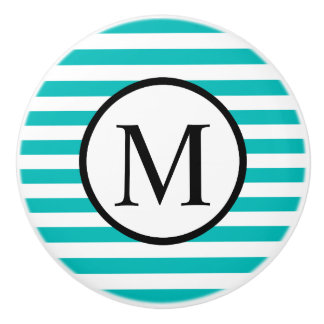 Simple Monogram with Aqua Horizontal Stripes Ceramic Knob