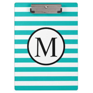Simple Monogram with Aqua Horizontal Stripes Clipboard