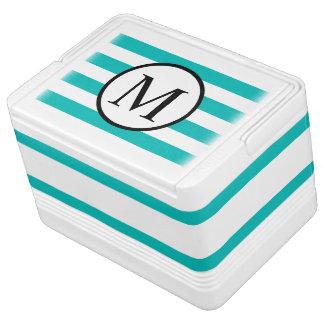 Simple Monogram with Aqua Horizontal Stripes Cooler