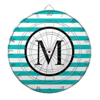 Simple Monogram with Aqua Horizontal Stripes Dartboard