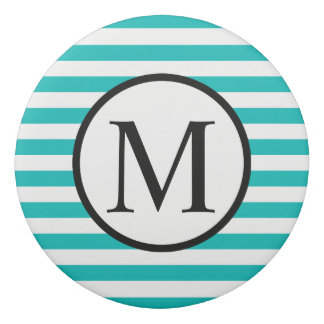 Simple Monogram with Aqua Horizontal Stripes Eraser