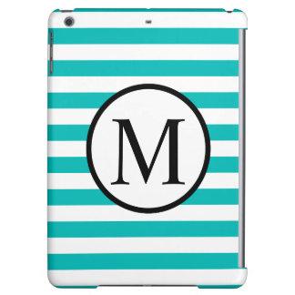 Simple Monogram with Aqua Horizontal Stripes iPad Air Cover